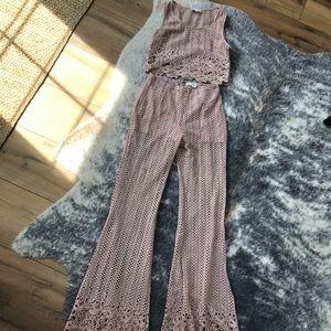 These Three Boutique blush 2-piece pant/crop set
